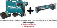 Makita akumulatorski set HP331DSYE + TM30DZ + 10 bitova